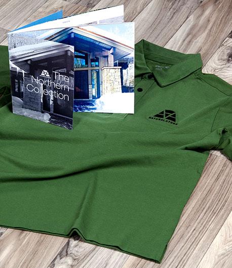 StudioConover - AAA Natural Stone   AAA Northern Brochure on top of AAA polo shirt